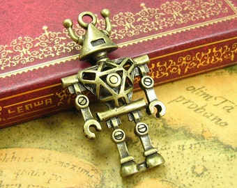 5 pcs Antique Bronze Robot Charms 45x24mm CH0939