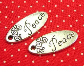 10 pcs Antique Silver Peace Charms 25x10mm CH0942