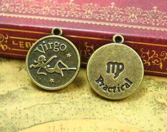 10 pcs Antique Bronze Virgo Zodiac Charms Virgo Charms 18x18mm CH0981