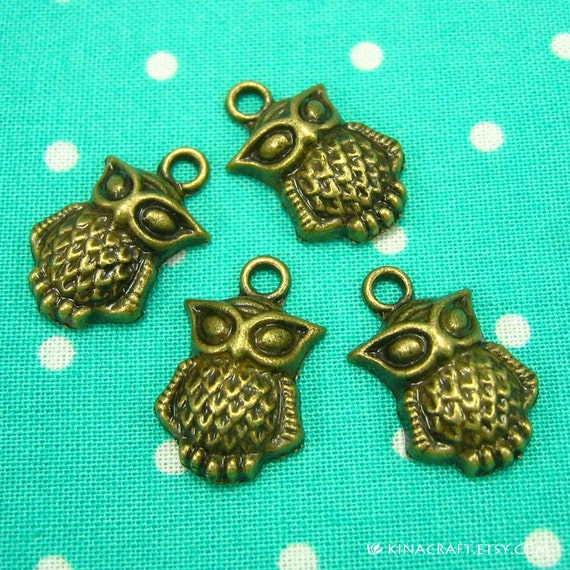 10 pcs Antique Bronze Owl Charms Owl Pendants 16x13mm CH0068