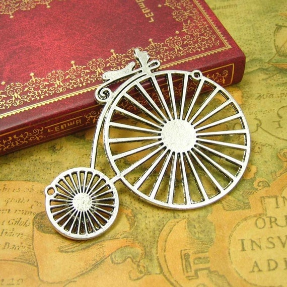 2 pcs Antique Silver Large Penny Farthing Charms Bicycle Pendants 75x60mm CH0296