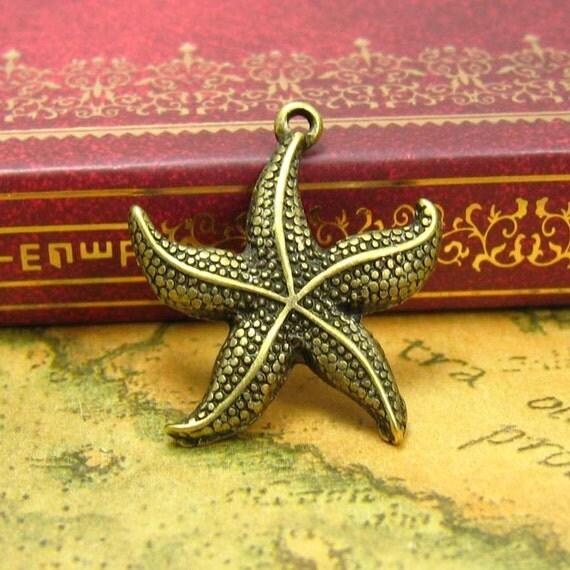 10 pcs Antique Bronze Starfish Charms Starfish Pendants 23x23mm CH0085