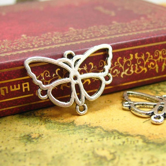 20 pcs Antique Silver Butterfly Charms Butterfly Connectors 24x17mm CH0858