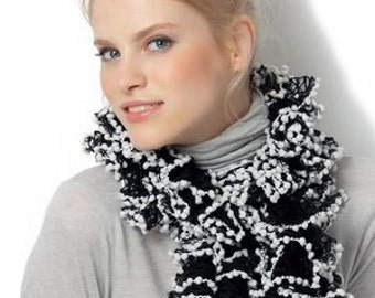Handcrafted Katia Rocio Knitted Frilly Scarf - Free USA Shipping