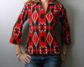 vintage 70s native american print shirt / womens small