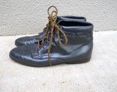 vintage 80s ellemeno navy blue leather ankle boot pixie boots/ womens size 10
