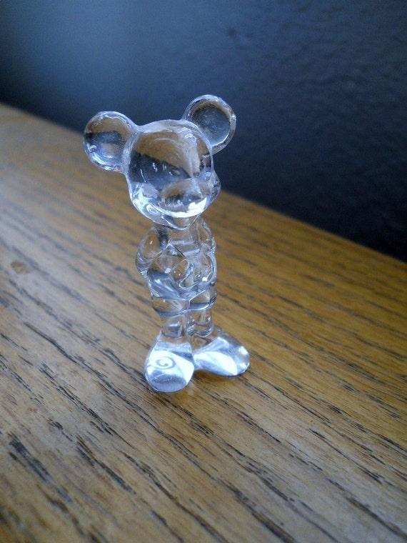 Glass Mickey Mouse Figurine Disneyland Vintage Disneyana