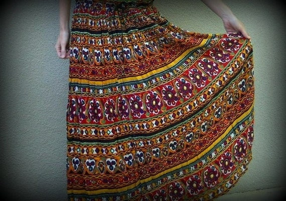 RESERVED for aml1995 Vintage 80s Wild Print Hippie Maxi India Broom Skirt - One size