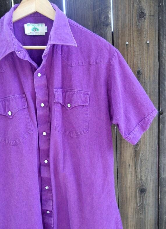 Vintage 80s country western purple pearl snap short sleeve shirt / mens large, xlarge