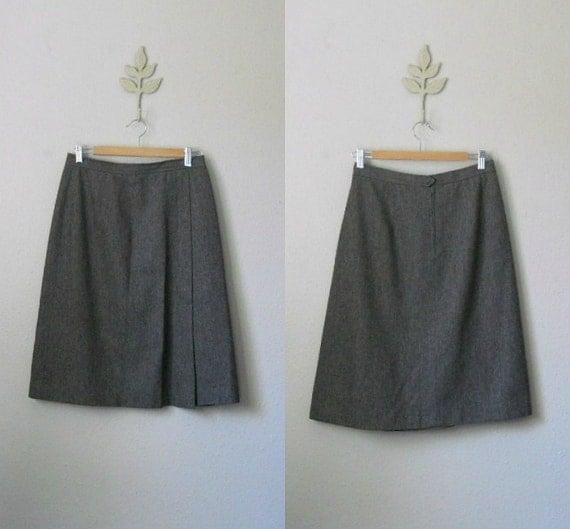 SALE vintage 70s evan picone slate gray wool a-line midi skirt / small medium