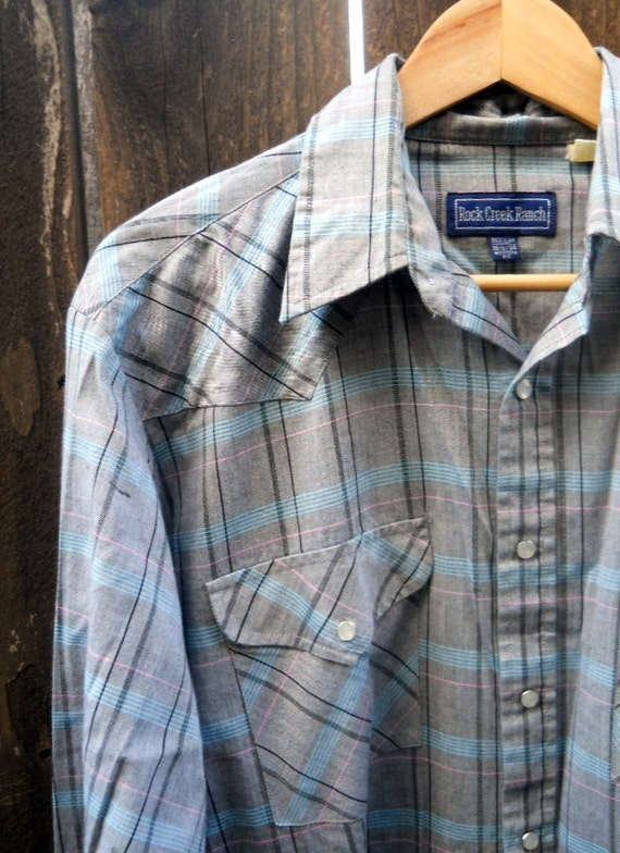 SALE vintage 80s gray striped western pearl snap button up / mens large
