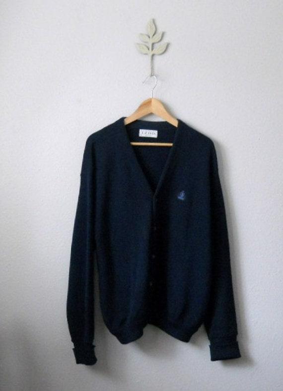 vintage 70s 80s navy blue izod sweater cardigan / grandpa cardigan/ mens xlarge