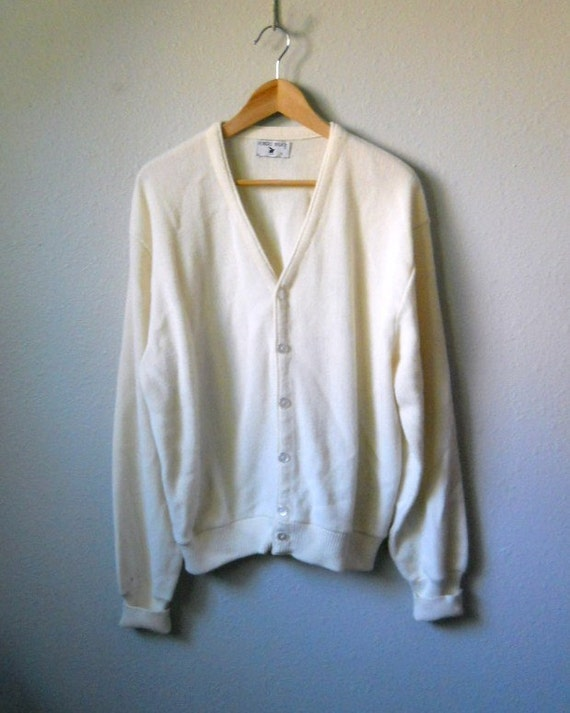 vintage 60s 70s ivory cream cardigan sweater / grandpa cardigan/ mens womens large xlarge