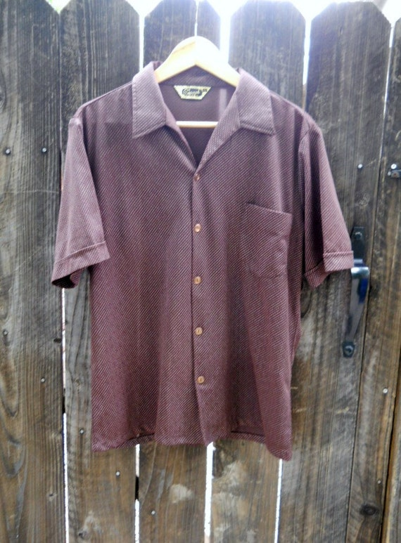 SALE vintage 70s groovy chocolate brown polka dot shirt/ mens medium large