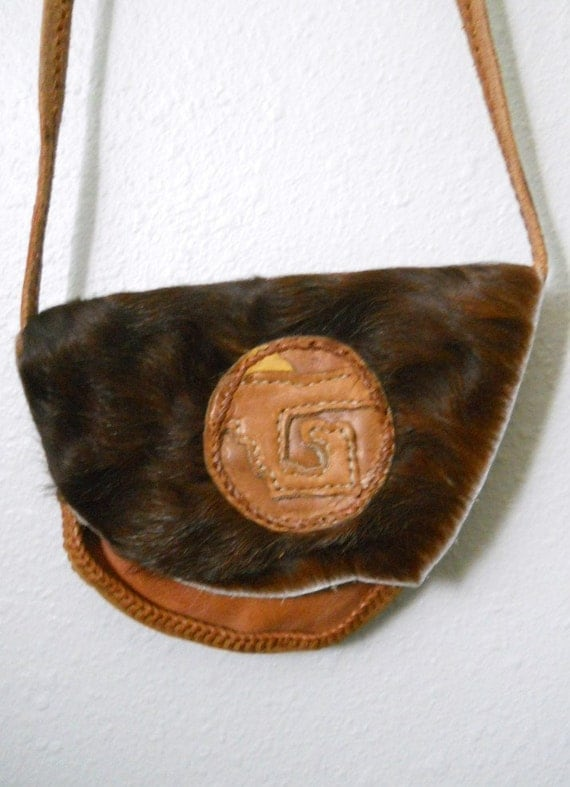 vintage cowhide brown leather native american purse / small