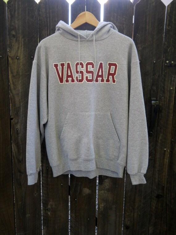 vintage 90s VASSAR heather gray hoodie sweatshirt / mens womens large