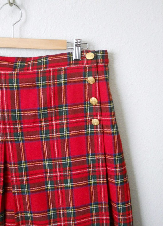 vintage 80s 90s wool red plaid school girl mini skirt / womens large / size 16