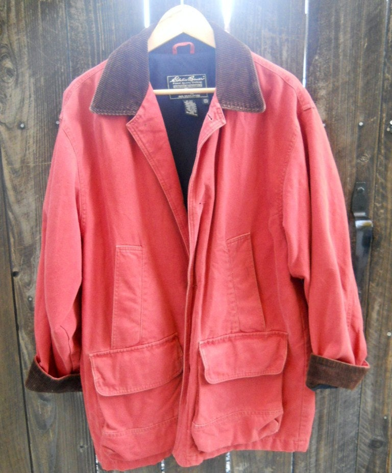 Vintage 80s Eddie Bauer Rustic Brick Red Barn Jacket Coat