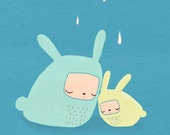 Snuggle bunnies, two rabbits in the rain on blue - 8.5x 11 art print for children or nursery