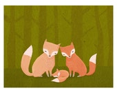 three foxes kids art. woodland animals in orange and green. 8.5 x 11 art print for baby, nursery, children