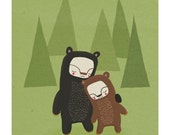 two bears in the forest. green, brown and black - 8.5 x 11 art print