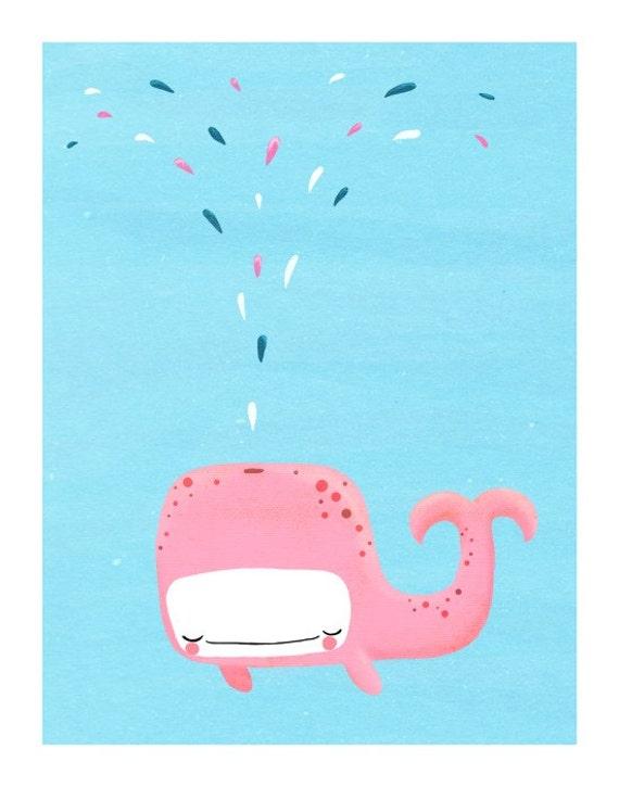Items Similar To Whale Nursery Art Cute Pink Sea Creature