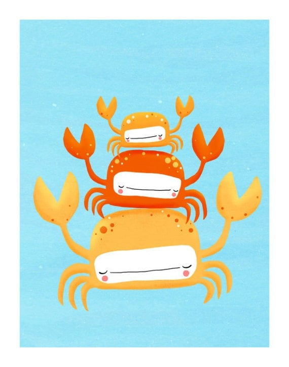 crabs nursery art. quirky orange sea creatures on blue. LARGE 11 x 14 art print (MORE COLORS available)