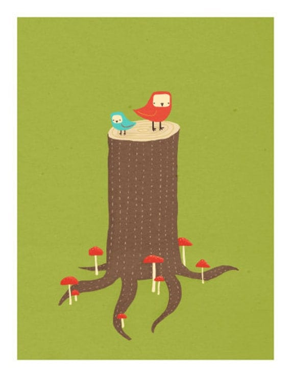 Seat in the forest - two birds on a stump, green brown and red - 8.5 x 11 art print