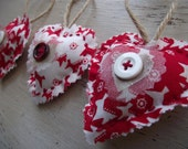 Red Christmas Decorations Tree Shabby Chic Hanging Heart x3 in Red and White - Noelle