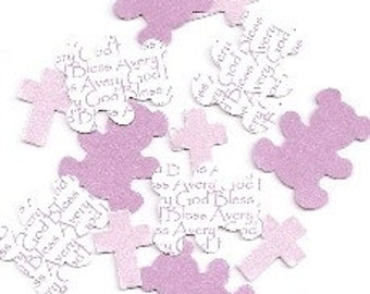 Personalized Baptism Table Decorations - Bear Cross Lav