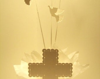 Baptism Party Decorations for Table - Balloon Centerpieces with Doves & Cross - Choice of Colors