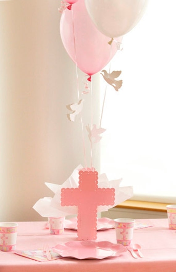 Baptism cross centerpieces for girls pink cross balloon for Balloon decoration ideas for christening