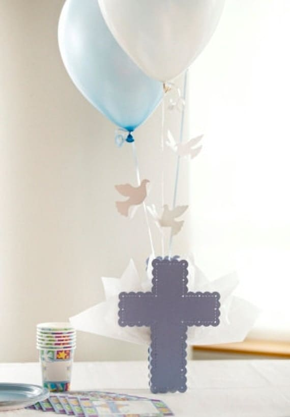 Communion Cross Centerpieces For Boys Blue Cross Dove