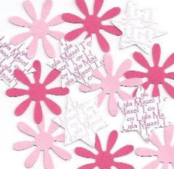 Star of David Decor Bat Mitzvah Baby Naming -  Personalized Daisy & Jewish Star Confetti - Choice of Colors