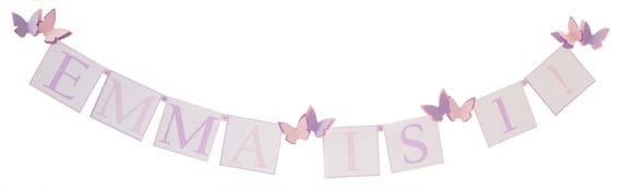 Butterfly Birthday Decorations - Personalized Banner in Choice of Colors