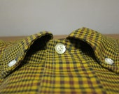 1960s Donlin Tapered Tails Olive Glen Plaid Buttondown Shirt Large 16.5