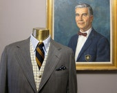H.Freeman Gray Pinstripe Flannel Sack Suit 40 Long