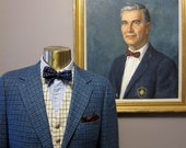 1960s Blue Tattersall Check English Style Tweed Hacking Sportcoat 39R
