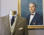 English Brown Gun Check Tweed Hacking Suit 40 Long