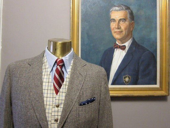 1950s Brown Fleck Tweed Three Button Suit by Hickey Freeman 40R