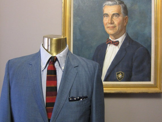 1960s 39S Summerweight Blue Sharkskin Two Button Sack Suit