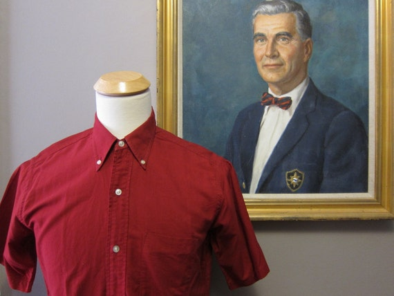 1950s Crimson Red Oxford Half Sleeve Shirt 15 Medium by Donegal