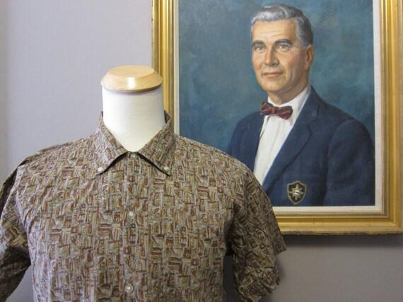 1950s Batik Print Button Down Shirt 16.5 Large by Dobson