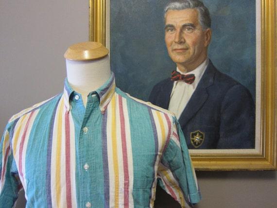 Gant Bold Stripe Madras Half Sleeve Sport Shirt Medium 15