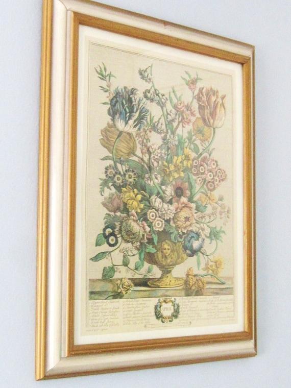 "Vintage Framed Print, Pieter Casteels ""April, from 'Twelve Months of Flowers', by Robert Furber (c.1674-1756), engraved by Henry Fletcher"