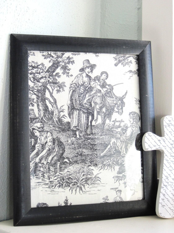 Vintage French Toile Framed Art Black And White Old Antique