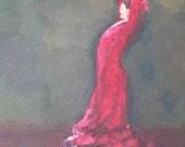 Flamenco Dancer, La Bodega - Original Acrylic & Oil Painting