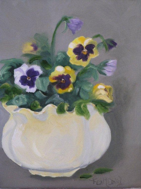 RESERVED!!  Pretty as a Pansy - Original Oil Painting