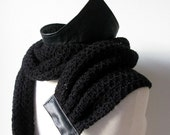 Bohemian Luxury Leather Collar Scarf, made from merino wool and recycled leather