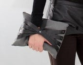 Leather Web Detail Bag in Limited Edition Gray Fabric, iPad size, Eco Design, handmade from upcycled materials